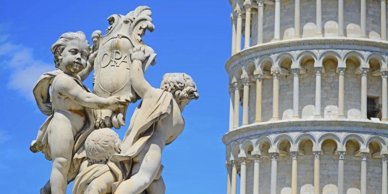 Putti fountain in Piazza dei Miracoli in Pisa, Italy