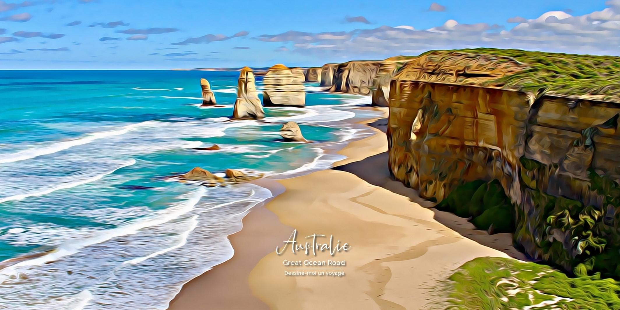 Tableau Panoramique Great Ocean Road 48x24